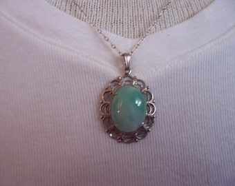 Jade pendant with silver chain