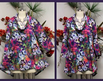 New Royal Concepts Digital Print Plus Size Tunic, Cowl Neck Tunic, Printed Tunic,  Size L To 4XL