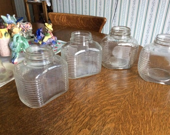 Rib Sided Canning Jars Lot of 4 Some Ecthing