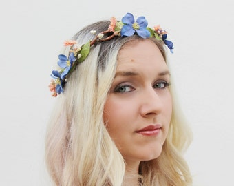 The Savannah Crown | romantic floral wreath | pastel flower crown | romantic floral headpiece | dogwood and peach blossom crown
