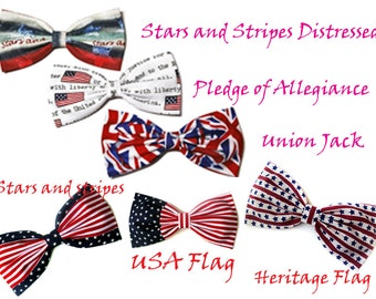 Patriotic American Flag Hair Bow- Barrette, Alligator Clip, or Headband