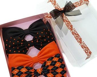EmilyRose Couture Hair Bow Gift Set- Halloween Argyle Gift Set- Set of 4 Hair Bows-