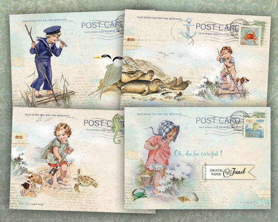 Art Mail - Coast - illustration stories - digital collage sheet - set of 4 cards - Printable Download