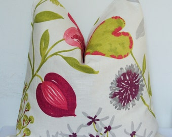 Floral Pillow Cover, Decorative Pillow, Foliage Throw Pillow, Toss Pillow, Home Furnishing, Home Decor, Magenta, Chartreuse, Gray