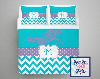 Horse Custom Bedding - Personalized or Monogrammed Comforter or Duvet - Aqua and Purple Chevron
