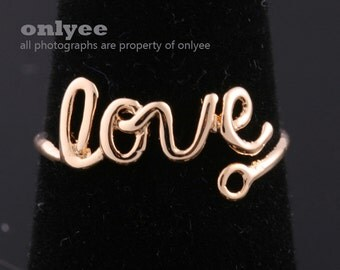10PCS-8mmBright Gold Plated Brass Adjustable RING Blank Base with LOVE For Deco pad Ring (E300G)