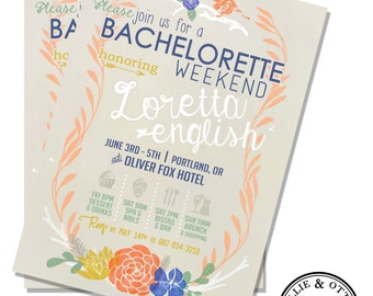 Custom Bachelorette Party Invitation Design - digital floral vintage watercolor - can be used for bridal or baby shower or birthday