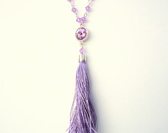 Tassel necklace, Swarovski necklace, chain necklace, trends 2017, violet necklace, lavender necklace, crystal necklace, glam necklace