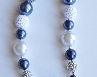 20% Off!!! - Children's Chunky Necklace - Blue, White, Gray