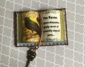 Poe - The Raven Open Book w Yellow Background- Dollhouse Miniatures