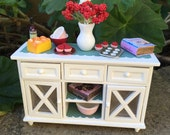 Cupcake Baking Shabby Chic/French/Cottage Kitchen Buffet/Sideboard - Dollhouse Miniature