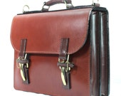 Chestnut Bridle Leather lawyers case with green calf suede lining
