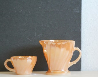 Fire King Coffee Cup and Milk Jug Peach Luster Anchor Hocking