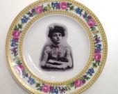Vintage Victorian Tattooed Lady Plate Altered Art