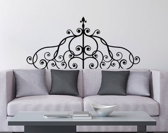Wrought Iron Headboard Vinyl Wall Decal Design - fits above beds, couches and/or on any smooth non-porous surface U002