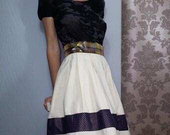 60s ecru skirt / star / checkered fabrics.01116