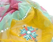 Silk Chiffon Scarf Handmade Embroidered Shawl Pink Turquoise Yellow Beaded Gold Scarf Gypsy Boho Chic Bohemian Indian Neck Scarves Bandana
