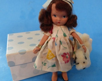 "RARE NANCY ANN Storybook doll ""I have a LIttle Pet"" pudgy tummy with box and original dog!"