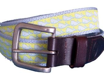Whales Leather Belt / Leather Belt / Canvas Belt / Preppy Webbing Belt for Men, Women and Children/Whales on Sun Ribbon