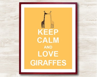 Keep Calm and Love Giraffes - Instant Download, Personalized Gift, Inspirational Quote, Keep Calm Poster, Animal Art Print, Kids Room Decor