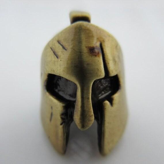 spartan helmet lanyard paracord leather bead in pewter