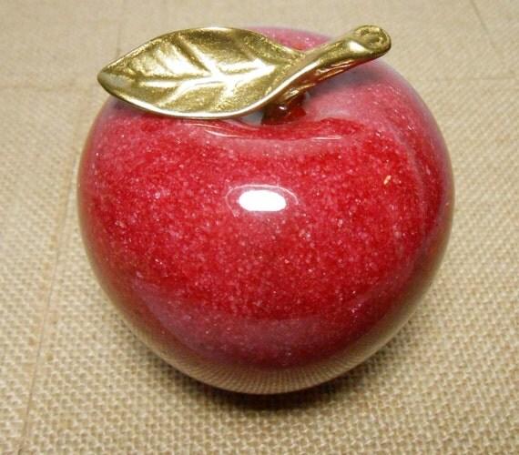 Red Alabaster Stone : Vintage apple figurine stone alabaster marble red