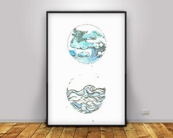 PRINTABLE Lithograph,  hand colored Turquoise blue, cloud, sea