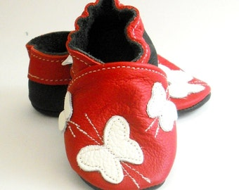 soft sole baby shoes handmade infant gift red butterfly white bebes fille cuir souple chaussons Krabbelschuhe porter 6-12 ebooba BF-2-R-M-2