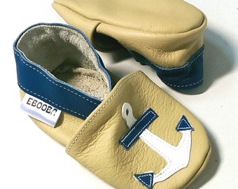 soft sole baby shoes infant handmade  blue white beige anchor 6-12m  ebooba AN-6-BE-M-2