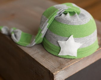 Newborn Hat Upcycled Green and Gray Striped Hat with Star READY TO SHIP Sleepy Time Boys Hat Photography Prop, Newborn Boy Hats, Green Hat