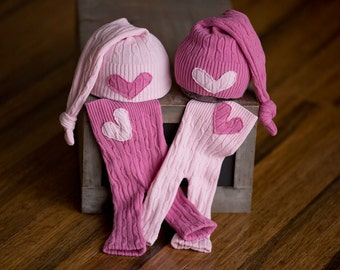 Newborn Twin Girl Set Upcycled Newborn Pants & Hat Set Pink with Heart Patch Newborn Photography Prop READY TO SHIP, Newborn Twin Girl Prop