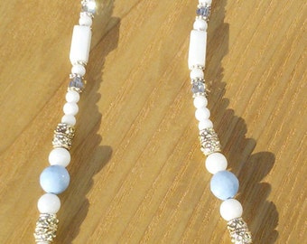 White & Blue Handmade Beaded Gemstone Necklace