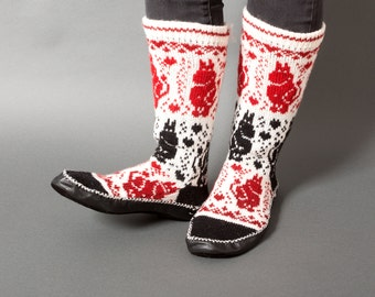 slippers women chaussons white red black wool leather handmade eco friendly sock footwear moomintroll