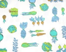 Retro Vegetable Fabric, Vintage Cotton Fabric by the yard, Kitchen Chef Mod Green Blue White Print, Fabric BTY Yardage