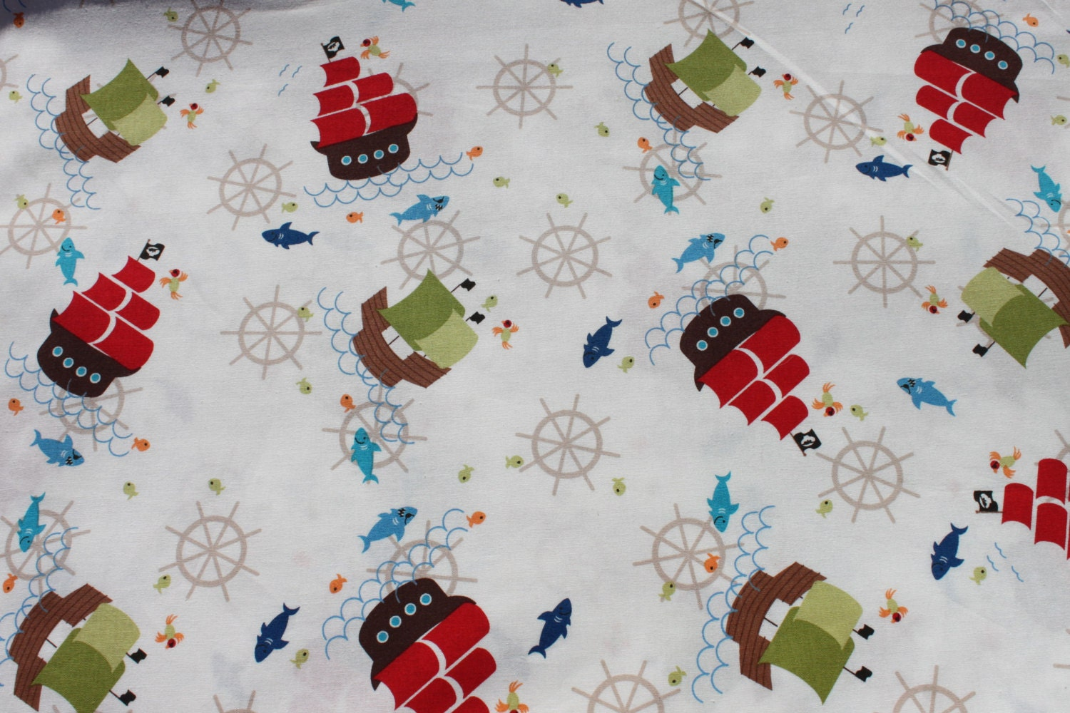 Pirate ship cotton fabric by the yard novelty by for Kids pirate fabric