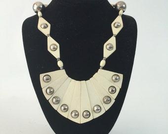 1960s tribal necklace set / bone necklace / avant garde necklace / 60s modernist necklace