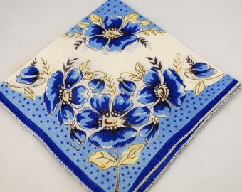 Vintage Hankie, Blue, Yellow and White Floral Design, Great For Framing, Crafting Sewing Lot T10