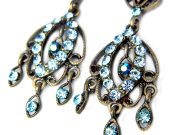 Brass Blue Rhinestone Dangle Earrings Vintage Boho Chic Jewelry For Women Gypsy Bohemian Hippie Chandelier Dangle Earrings