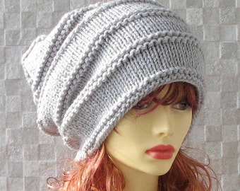 Hand Knit Womens Hat - Dreadlock Accessories - Grey  Dread Tam - Dread Hat - Warm Winter Slouch - Oversized Hat