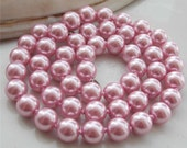 Woman,Wedding,Mother of the Bride, AAA 8mm  Pink / South Sea Shell Pearl Round Necklace 18''