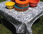"47.5"" Oil Cloth Tablecloth Square BLACK Toile (NO Hole) BLACK Trim Oilcloth Vinyl Outdoors Umbrella Patio Wipe Clean"