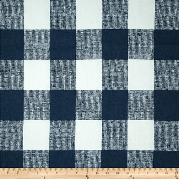 Navy Blue White Buffalo Check Curtains Rod Pocket By