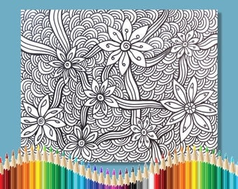 Coloring Pages for Adults Flower and Ribbons Zentangle Instant Download