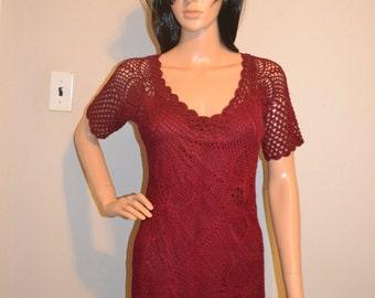 Cherry Wine dress custom made cotton dress sizes 0 to 20