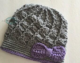 Grey twist bow hat