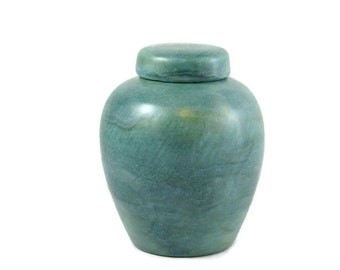 Marbled Blue Green Glazed Ginger Jar Ceramic Pet Urn, Cat or Dog or any small animal, Hand made -5.5 inches tall