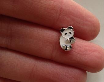 teeny tiny single stud earring panda bear with rhinestones