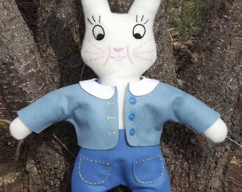 Easter Bunny Made From 1930's Pattern Stuffed Rabbit Collectible