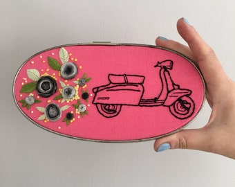 Hand Embroidered Lambretta set in vintage metal frame - 4.5 x 9 inches