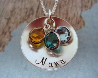 Nana Birthstone Necklace, Personalized Nana Necklace, Grandmother Necklace, Grandmother Jewelry, Birthstone Jewelry, Hand Stamped Jewelry